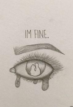I'm fine 😢 - New Ideas - kunst skizzen - Sad Drawings, Cool Art Drawings, Pencil Art Drawings, Art Drawings Sketches, Art Drawings Beautiful, Drawing With Pencil, Tumblr Art Drawings, Cute Drawings Of Love, Sad Art