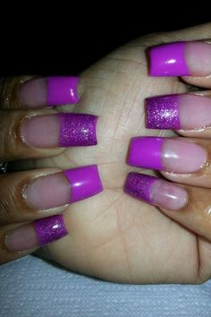 Purple colored acrylic nails Colored Acrylic Nails, Birthday Nails, Got The Look, Nail Technician, Purple Nails, Love Nails, Lipsticks, Claws, Hair And Nails
