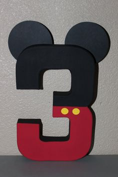 Mickey Mouse Birthday Number by CraftyCreationsShop9 on Etsy