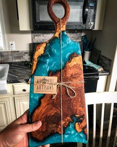 (SOLD) Mesquite burl with Liquid Glass and Bora Bora Blue. I got to look at this board,… Epoxy Resin Table, Epoxy Resin Art, Diy Resin Art, Diy Resin Crafts, Wood Resin, Diy Arts And Crafts, Wood Crafts, Resin Furniture, Wood Creations