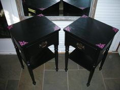 Set of Two 1976 Ethan Allen Outrageous Nightstands. $299.00, via Etsy.