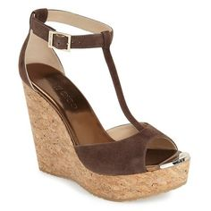 """Jimmy Choo 'Pela' Cork Sandal, 5"""" heel ($525) ❤ liked on Polyvore featuring shoes, sandals, pecan suede, high heel sandals, cork sandals, jimmy choo shoes, t strap sandals and cork shoes"""
