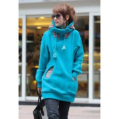 Korean Thicken Solid Color Thicken Hooded Long Sleeves Women's Hoody, BLUE, M in Long Sleeves | DressLily.com