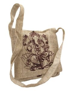 Natural Color Hemp Bag With Ganesha by Things2Die4. It is made with 100% hemp, which requires less water to grow than cotton. It is a stylish, durable bag that is totally eco-conscious! Costs $24.99 on Amazon.
