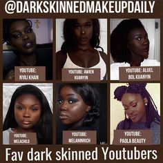 It's so hard finding dark skinned makeup tutorials on YouTube that feature women with deeper skin tones . A lot of the time, the women are a good 4 shades lighter than some making it harder for some to know exactly what'll work for some. Here are some of my current fav youtubers with deeper complexions. I'll also post a list of other youtubers for different brown complexions ! If you know any more feel free to tag them below.