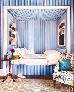 [New] The 10 Best Home Decor (with Pictures) - A blue and white bedroom for the design files Alcove Bed, Bed Nook, Bedroom Alcove, Studio Loft, Beach Bedding Sets, Interior And Exterior, Interior Design, Ideas Hogar, Daughters Room