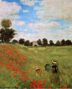 Poppies blooming detail ~ Claude Monet. Always loved this one for some reason. I think it's the mood and colors.