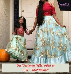 Mom daughter buy for contact whats app dress and skirt prices 3200 / Rs fabric Bangalore silk size customize Kids Lehenga, Lehenga Choli, Lehenga Skirt, Bridal Lehenga, Anarkali, Mom Daughter Matching Dresses, Mother Daughter Fashion, Mother Daughters, Mother Son