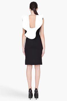 LANVIN Black Bicolor Neoprene Ruffled Dress