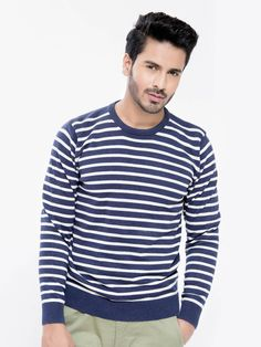 Blue Striped Crew Neck Sweater - Brumano