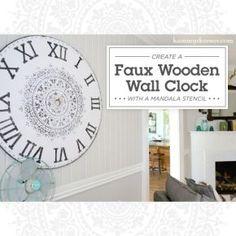 Learn how to stencil the Prosperity Mandala Stencil from Cutting Edge Stencils on a wooden faux wall clock. Stencil Decor, Sign Stencils, Faux Walls, Mandala Stencils, Cutting Edge Stencils, Easy Diy, Clock, Diy Decorating, Farmhouse Style