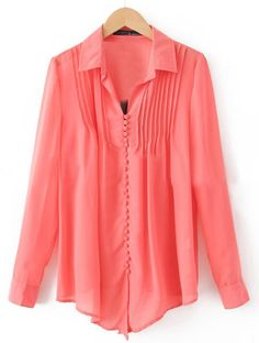 Red Lapel Long Sleeve Single Breasted Pleated Chiffon Shirt