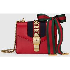 Gucci Sylvie Leather Mini Chain Bag (8,565 MYR) ❤ liked on Polyvore featuring bags, handbags, shoulder bags, gucci, red, women, leather purses, gucci purses, mini shoulder bag and leather handbags