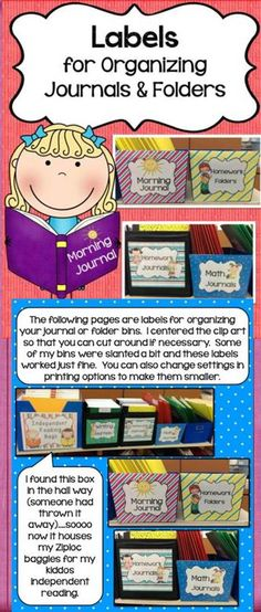 This pack contains cute labels to help you keep your journals and folders organized. It has labels for your bins or boxes and labels to put on each one of your student folders. Created by Alma Almazan