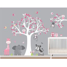 @Overstock.com - Nursery Wall Art Safari Tree Decal Set - Add some wildly adorable decor to your little girl's room with this nursery wall art decal set. With darling animals and versatile colors, this set is the perfect way to add some fun and color to your baby's nursery.  http://www.overstock.com/Baby/Nursery-Wall-Art-Safari-Tree-Decal-Set/8394316/product.html?CID=214117 $84.99