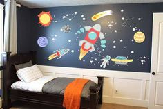 Outer Space Stars Planets  Playroom Decal for Kids - Nursery Wall Fabric  Decal, Boys Astronauts Wall Decor