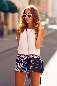 short white top and printed shorts