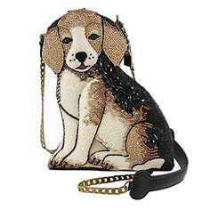 Mary Frances Regal Beagle Beaded Puppy Dog Handbag, Brown