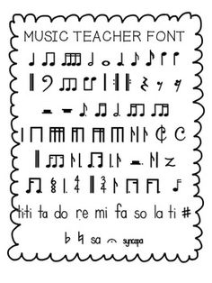 FREE - Music Teacher Font with standard and kodaly notation (personal use only) from Teachers Pay Teachers Piano Lessons, Music Lessons, Guitar Lessons, Teacher Fonts, Piano Teaching, Learning Piano, Music Classroom, Music Teachers, Music Lesson Plans