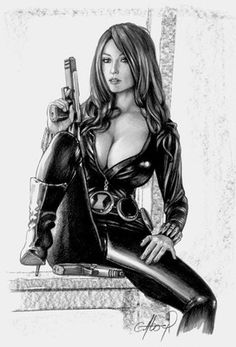 Black Widon Pin Up Sexy Original Art not A Print Claudio Aboy | eBay