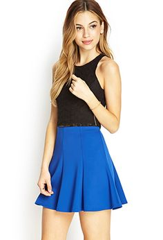 Seam-Stitched Skater Skirt | FOREVER21 - 2000068196 // Cap? Might be too short