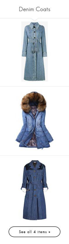 """Denim Coats"" by stylish-sparkles ❤ liked on Polyvore featuring outerwear, coats, blue, marni coat, flare coat, long sleeve coat, denim coats, trench coats, blue coat and fur hood coat"