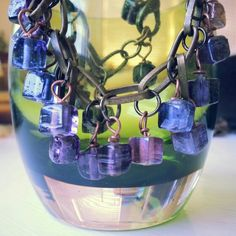 """""""Lavender cubed"""" bracelet. Rough-finish glass beads on recycled brass chain."""