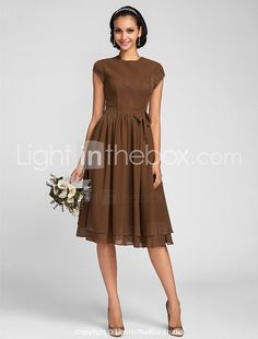 Lanting Bride® Knee-length Chiffon Bridesmaid Dress - A-line Jewel Plus Size / Petite with Bow(s) / Buttons 2017 - $62.99