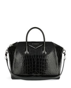 Antigona Crocodile Medium Satchel Bag, Black by Givenchy at Neiman Marcus.