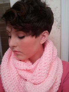 Liv and Lucy's crochet ribbed infinity scarf in baby pink  https://www.etsy.com/listing/166981403/baby-pink-ribbed-infinity-scarf-cowl?