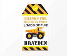 Construction Party Favor Tags - Dump Truck Builder by Printable Studio by PrintableStudio505 on Etsy https://www.etsy.com/listing/202957198/construction-party-favor-tags-dump-truck