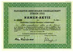 Flughafen-Immobilien-Gesellschaft Zürich (FIG) Aktie über 500 Franken - 1958