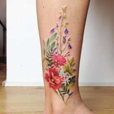 Watercolor florals by Aga Yadou #TattooIdeasWatercolor