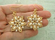 Linda's Crafty Inspirations: Lizbeth Band & Petites Fleurs Earrings Set - Ivory & Gold
