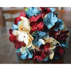 Hydrangea Hand Blended Hydrangea Stem Red White Blue Hydrangeas... ($12) ❤ liked on Polyvore featuring home, home decor, floral arrangements, grey, home & living, home décor, floral door wreaths, red white and blue home decor, floral head wreath and artificial wreaths
