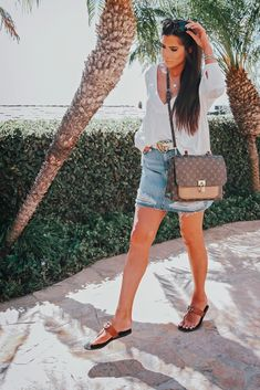 Cutest Outfit for Summer. Topshop ripped Denim skirt, t strap Gucci Sandals, Louis Vuitton Bag, white tee. Emily Gemma Instagram, Casual Summer Outfit, Casual Spring Outfit, Fashion Style, Emily Gemma, Emily Gemma outfit, The Sweetest Thing Blog. #EmilyGemma #TheSweetestThingBlog #summerstyle #beach #Summeroutfit