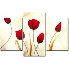 Wall painting Red tulips on white background 48677 Canvas Artwork, Canvas Art Prints, Tupac Art, Gallery Wall Frames, Colorful Wall Art, Red Tulips, Flower Canvas, Flower Oil, Easy Paintings