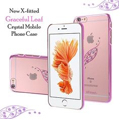 X-FITTED Apple iPhone Hard Plastic Back Cover ,The Graceful Leaf Crystal Rhinestone Decoration Bling Case with Diamond Ultrasonic Embedded Craft and Anti-fingerprint Technics Compatible for Apple iPhone (Pink) Apple Iphone 6s Cover, Apple Iphone 6s Plus, Mobile Phone Cases, Iphone Phone Cases, Iphone Case Covers, Latest Electronic Gadgets, Amazon Mobile, Crystal Mobile, Online Mobile
