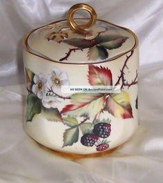 Antique Hand Painted Limoges Biscuit/cracker Jar Jars photo