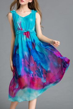 Printed High Waisted V Neck Dress