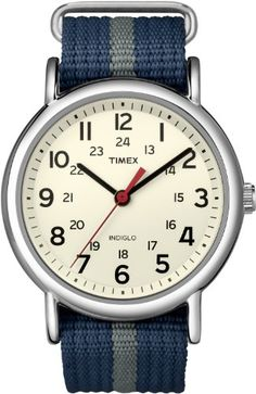 Timex T2N654KW Weekender Blue and Gray Slip Through Strap Watch