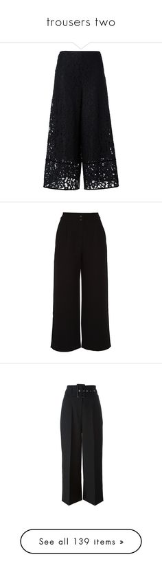 """trousers two"" by gmbtch ❤ liked on Polyvore featuring pants, black, flare pants, lined pants, see by chloe pants, lining pants, side zip pants, bottoms, high waisted wide leg trousers and high rise trousers"