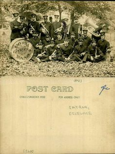 Smyrna Citizens band.  From the George and Irene Caley Postcard collection donated to the Delaware Public Archives.