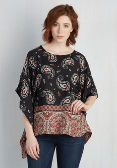 Serene Sentiments Top. Taking cues from the breezy silhouette of this printed black top, you decide to spend the day going with the flow. #multi #modcloth