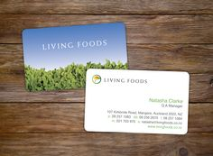 Living Foods Business Cards. Victoria Wigzell Design.