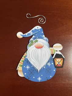 Holiday Lantern Gnome, Free Shipping, Hand Painted Ornament with Metal Hook Metal Hangers, Hand Painted Ornaments, One Color, Gnomes, Lanterns, Free Shipping, Christmas Ornaments, Holiday Decor, Cute
