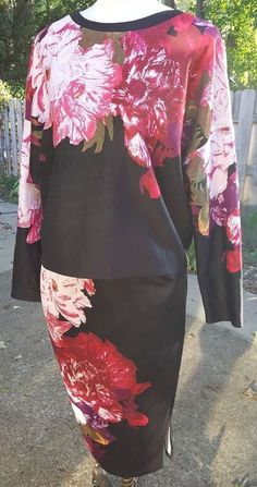 Bisou Bisou matching Blouse and pull on Skirt Pink Floral Michele Bohbot XL #BISOUBISOU #2PieceTopandskirt #Cocktail