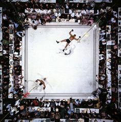 ALI – WILLIAMS (OVERHEAD)  Aerial of Muhammad Ali victorious after his round two knockdown of Cleveland Williams during the 1966 World Heavyweight Title fight at the Astrodome. Houston, Texas 11/14/1966