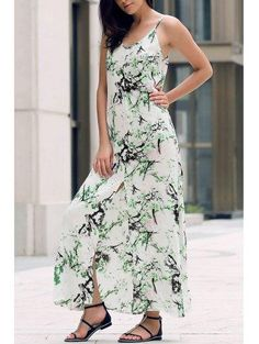 Zaful - Zaful Printed Front Slit Maxi Strap Dress - AdoreWe.com
