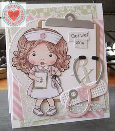 From our Design Team! Card by Alina Meijer-Petrescu featuring Club La-La Land Crafts February 2016 exclusive Nurse Marci, Feel Better stamp set and these Dies - Clipboard Border, Stethoscope, Medical Elements, Bandaid :-) Club La-La Land Crafts subscription details are here - http://lalalandcrafts.com/Club_La-La_Land_Crafts.html Coloring details and more Design Team inspiration here - http://lalalandcrafts.blogspot.ie/2016/02/club-la-la-land-crafts-february-2016.html